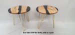 Timber is kiln dried Italian olive with black pearl epoxy resin in-between. Table height 430mm, table top is 440mm diameter